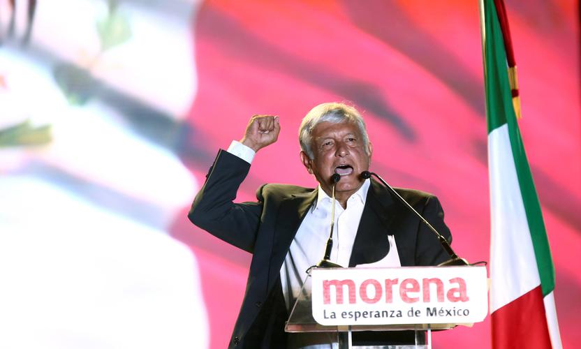 Andres Manuel Lopez Obrador at a rally in Mexico City. Photo: Reuters/Edgard Garrido