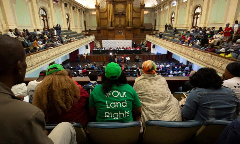 The gallery's view of a public hearing on South African land expropriation in Pietermaritzburg, SA. Photo: Reuters / Rogan Ward