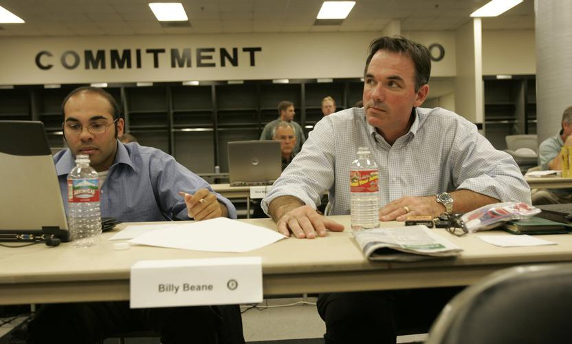 Billy Beane, right, in 2005. Photo by Michael Zagaris/ MLB Photos via Getty Images